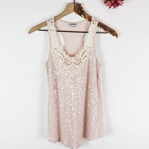 [EXPRESS] Pink Sequined Lace V-Neck Racerback Tank